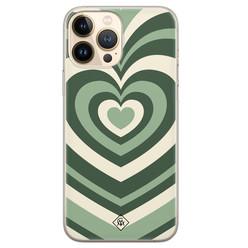 Casimoda iPhone 13 Pro Max siliconen hoesje - Hart swirl groen