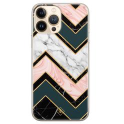 Casimoda iPhone 13 Pro Max siliconen hoesje - Marmer triangles