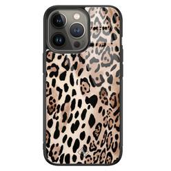 Casimoda iPhone 13 Pro glazen hardcase - Golden wildcat