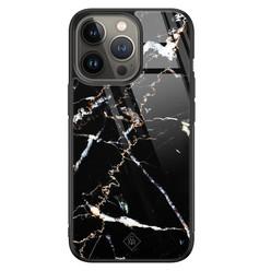 Casimoda iPhone 13 Pro glazen hardcase - Marmer zwart