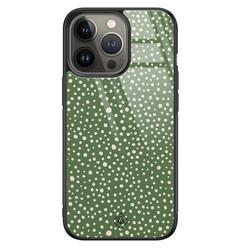 Casimoda iPhone 13 Pro glazen hardcase - Green dots