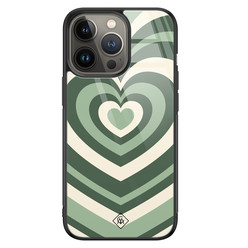 Casimoda iPhone 13 Pro glazen hardcase - Hart swirl groen