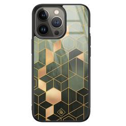 Casimoda iPhone 13 Pro glazen hardcase - Kubus groen