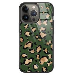 Casimoda iPhone 13 Pro glazen hardcase - Luipaard groen