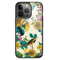 Casimoda iPhone 13 Pro glazen hardcase - Sunflowers