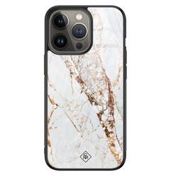Casimoda iPhone 13 Pro glazen hardcase - Marmer goud