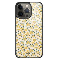 Casimoda iPhone 13 Pro glazen hardcase - Yellow garden
