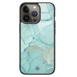 Casimoda iPhone 13 Pro glazen hardcase - Touch of mint