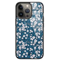 Casimoda iPhone 13 Pro glazen hardcase - Bloemen blauw