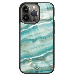 Casimoda iPhone 13 Pro glazen hardcase - Marmer azuurblauw
