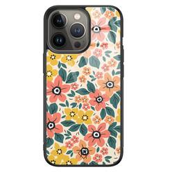 Casimoda iPhone 13 Pro glazen hardcase - Blossom