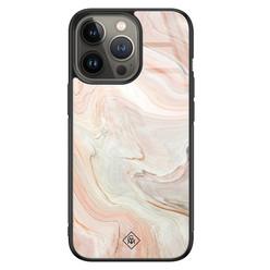 Casimoda iPhone 13 Pro glazen hardcase - Marmer waves