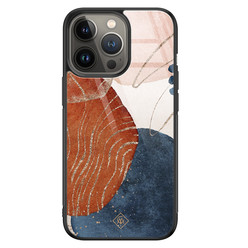 Casimoda iPhone 13 Pro glazen hardcase - Abstract terracotta