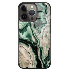 Casimoda iPhone 13 Pro glazen hardcase - Green waves