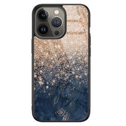 Casimoda iPhone 13 Pro glazen hardcase - Marmer blauw rosegoud
