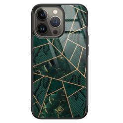 Casimoda iPhone 13 Pro glazen hardcase - Abstract groen