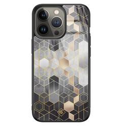 Casimoda iPhone 13 Pro glazen hardcase - Hexagons zwart