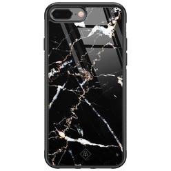 Casimoda iPhone 8 Plus/7 Plus glazen hardcase - Marmer zwart