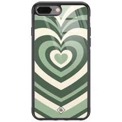Casimoda iPhone 8 Plus/7 Plus glazen hardcase - Hart swirl groen