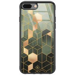 Casimoda iPhone 8 Plus/7 Plus glazen hardcase - Kubus groen