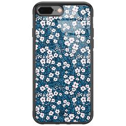 Casimoda iPhone 8 Plus/7 Plus glazen hardcase - Bloemen blauw