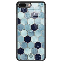 Casimoda iPhone 8 Plus/7 Plus glazen hardcase - Blue cubes