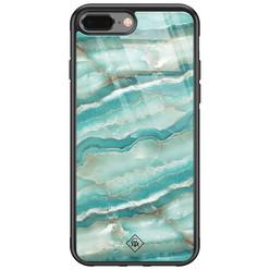 Casimoda iPhone 8 Plus/7 Plus glazen hardcase - Marmer azuurblauw