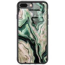 Casimoda iPhone 8 Plus/7 Plus glazen hardcase - Green waves