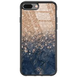 Casimoda iPhone 8 Plus/7 Plus glazen hardcase - Marmer blauw rosegoud
