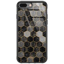 Casimoda iPhone 8 Plus/7 Plus glazen hardcase - Hexagons zwart