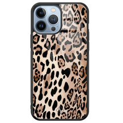 Casimoda iPhone 13 Pro Max glazen hardcase - Golden wildcat