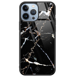 Casimoda iPhone 13 Pro Max glazen hardcase - Marmer zwart