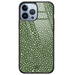Casimoda iPhone 13 Pro Max glazen hardcase - Green dots