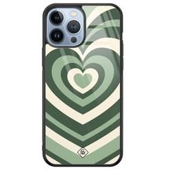 Casimoda iPhone 13 Pro Max glazen hardcase - Hart swirl groen