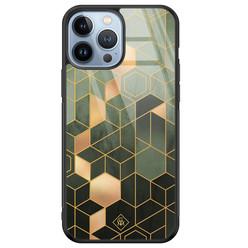 Casimoda iPhone 13 Pro Max glazen hardcase - Kubus groen