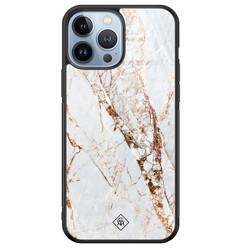Casimoda iPhone 13 Pro Max glazen hardcase - Marmer goud