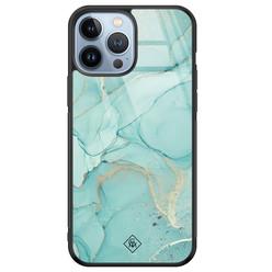Casimoda iPhone 13 Pro Max glazen hardcase - Touch of mint