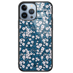 Casimoda iPhone 13 Pro Max glazen hardcase - Bloemen blauw