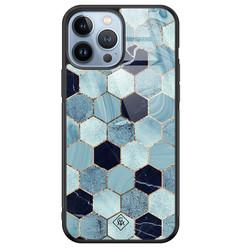 Casimoda iPhone 13 Pro Max glazen hardcase - Blue cubes