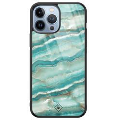 Casimoda iPhone 13 Pro Max glazen hardcase - Marmer azuurblauw