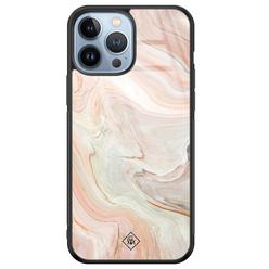 Casimoda iPhone 13 Pro Max glazen hardcase - Marmer waves