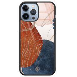 Casimoda iPhone 13 Pro Max glazen hardcase - Abstract terracotta