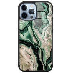 Casimoda iPhone 13 Pro Max glazen hardcase - Green waves