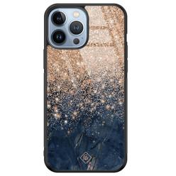 Casimoda iPhone 13 Pro Max glazen hardcase - Marmer blauw rosegoud