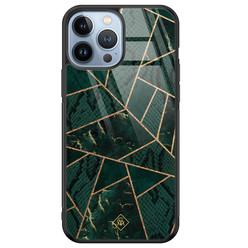 Casimoda iPhone 13 Pro Max glazen hardcase - Abstract groen