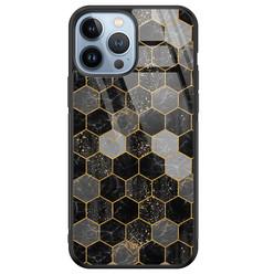 Casimoda iPhone 13 Pro Max glazen hardcase - Hexagons zwart