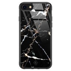 Casimoda iPhone SE 2020 glazen hardcase - Marmer zwart
