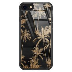 Casimoda iPhone SE 2020 glazen hardcase - Palmbomen