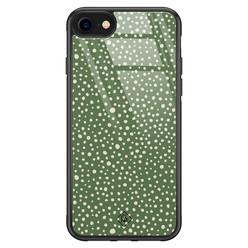 Casimoda iPhone SE 2020 glazen hardcase - Green dots