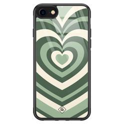 Casimoda iPhone SE 2020 glazen hardcase - Hart swirl groen